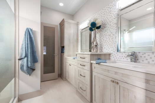 A beautiful master ensuite designed by Kirsten Powell of Decorated Interiors.