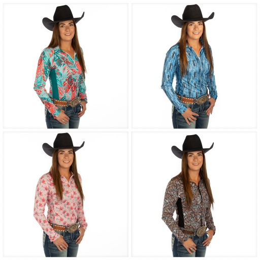 Carman Pozzobon, Professional Barrel Racer, 2018 NFR Winner, sporting the latest M6 Sport Apparel air conditioned shirts by Monique Vek.