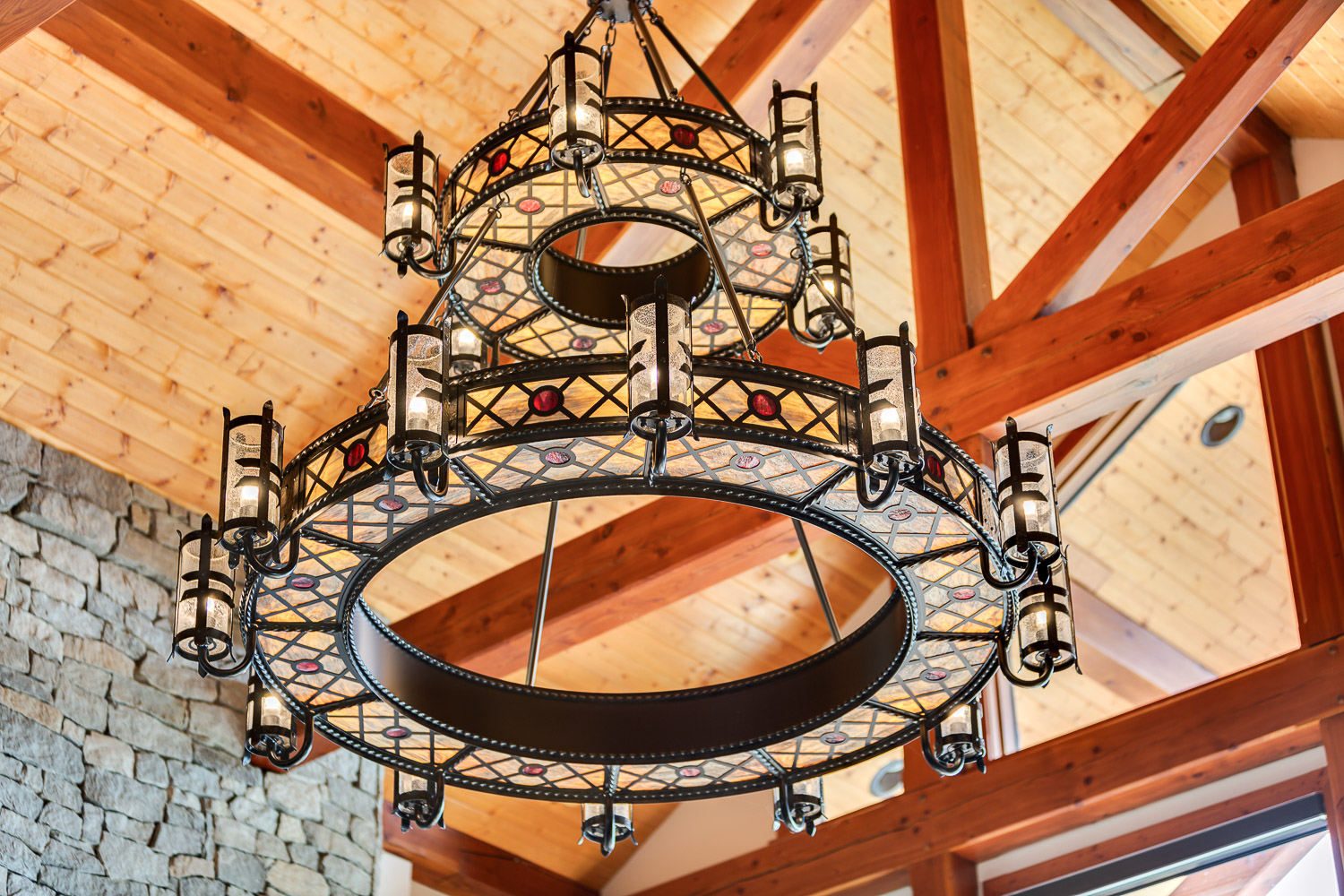 Beautiful chandelier in gorgeous Shuswap home.